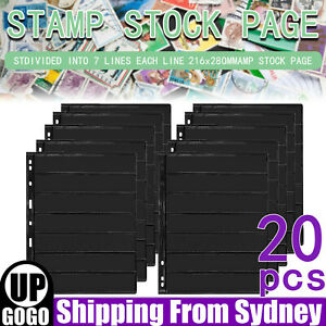 20 Sheet of Stamp Stock Black & Double Sided Page (7 Strips) & 9 Binder Holes AU