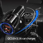 In-Car Dual Turbo Fast  3.0 USB Charger Adapter Plug For Any Mobile Phone Device