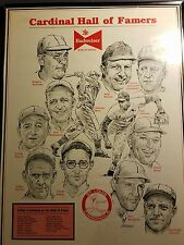 VINTAGE ST. LOUIS CARDINALS HALL OF FAMERS POSTER.  --  SGA?