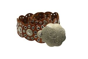 Vintage Moroccan Brown Leather Eyelet Discs Silver Floral Buckle Concho Belt