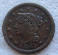 1847 1C BN Braided Hair Large Cent XF Details Minor Verdigris