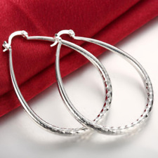 Vogue Snap Closure Hoop Fashion Earrings 925 Silver Plated Large 55mm Oval