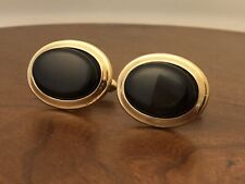 Vintage Swank Gold Tone Cuff Links With Black Cabochon Stone
