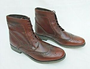 "BASE LONDON ""COOL"" BROWN LEATHER BROGUE PATTERN BOOTS EU40 UK7 NEW FREE UK P&P!"