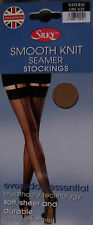 pack of 2 smooth knit seam seamer seamed stockings by silky natural or black