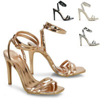 Womens Strappy Ankle Strap Sandals Ladies Stiletto High Heel Party Shoes Size