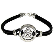 Sterling Silver Celtic Knot Triquetra Symbol Bracelet Genuine Leather Jewelry