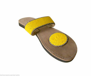 Women Slippers Indian Handmade Traditional Leather Casual Flip-Flops Camel US 6