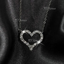 18K WHITE GOLD GF MADE WITH SWAROVSKI CRYSTAL LOVE HEART PENDANT NECKLACE