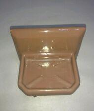 MCM Ceramic Light Brown Beige Vintage Bathroom Soap Holder Wall Mount