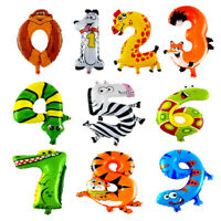16 inch Children Party Foil Balloons Number Shapes - Jungle Theme Self Inflate