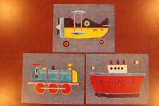 (3) Wall Art Prints - Plane, Train, Boat - Childrens Boy Kid Bedroom Nursery