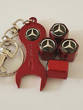 MECEDES RED DUST VALVE CAPS & SPANNER ALL MODELS RETAIL PACK GLA-CLASS C-CLASS