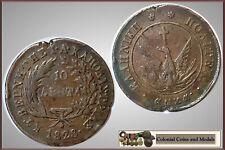 Greece :-  10 Lepta 1828.  ….. aVF & Scarce