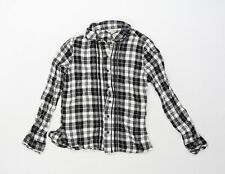 Miss Selfridge Womens Black Check  Basic Button-Up Size 8  - FRILLED COLAR