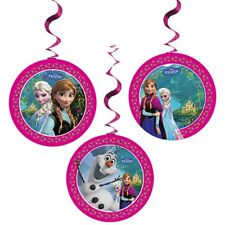 Pack of 3 Disney Frozen Foil Swirl Hanging Party Decorations - New & Sealed