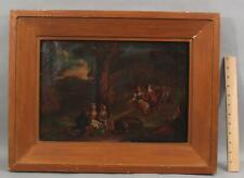 Early Antique 18thC Genre Folk Art Oil Painting, Children Playing on Seesaw, NR