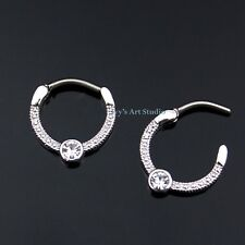 16g Surgical Steel Bar Hinged Septum Clicker Daith CZ Nose Ring Piercing