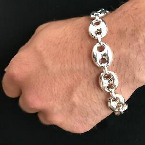 NEW Mens Puffed Marina Link Chain 17mm Bracelet 42GR 9.25 925 Sterling Silver