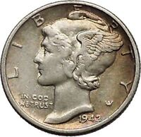 Mercury Winged Liberty Head 1942 Dime United States Silver Coin Fasces i44891