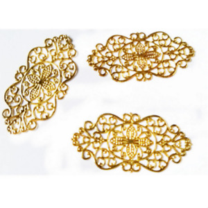 New 50 pcs  Gold Filigree Wraps Alloy Connectors Embellishments 6.0cm*2.7cm