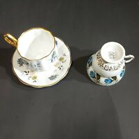 Rosina Fine Bone Floral China Teacups Saucer Lot  - Made in England Blue Flowers