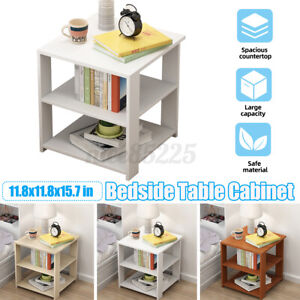Xmas Storage Wood Side Bedside Table End Nightstand 3-Tier Cabinet Bedroom Whi