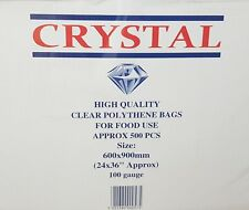 """500x CLEAR PLASTIC LDPE FOOD & GROCERY POLY BAGS 24""""x36"""" (100 GAUGE)"""