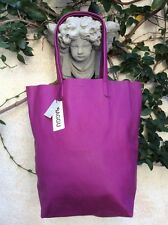 BAGGU Basic Leather ToTe Bag Plum Market Shopper Travel Carry On Purse Handbag