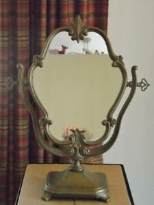 Antique Art Nouveau Deco Brass Swivel Mirror French Roger