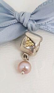 Authentic Pandora Silver 14k Gold Grapes Blush Pink Pearl Dangle Charm 790324NP