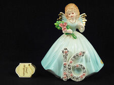 Josef Originals Sixteen / 16 Birthday Angel Girl Figurine - Brown Eyes & Tag
