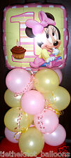 "18"" FOIL BALLOON TABLE DECORATION DISPLAY MINNIE MOUSE 1ST BIRTHDAY AGE 1"