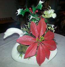 Vintage MELROSE FLOWER CO Plastic Swan Planter or Basket w Fake Fauna