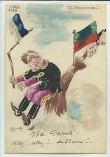 Portugal democrats wipe king out handpainted cartoon signed ROBERTY 1910