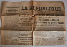 WW2 - JOURNAL OCCUPATION - LA REPUBLIQUE DU SUD-EST du 21 juillet 1941