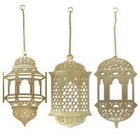 3Pcs Islam Eid Ramadan Mubarak Decorations Wooden Golden Hanging Lantern Baubles