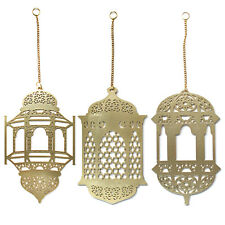 3Pcs Islam Eid Ramadan Mubarak Decorations Wooden Golden Hanging Lantern Baubles