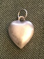 VINTAGE STERLING SILVER PUFFY HEART Antique CHARM - Plain