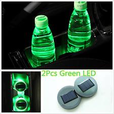 2Pcs Solar Car Cup Holder Bottom Pad Green LED Light Cover Trim Atmosphere Lamp