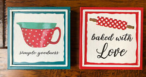 Set of 2 Pioneer Woman Metal Signs Baked With Love & Simple Goodness 6 x 6 inch