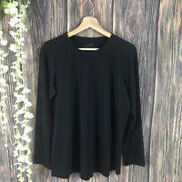 Pure Jill Top Small Women's Solid Black Pima Stretch-cotton Shirttail Tee