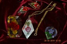 Lot of 4 Vintage Lucite Jewelry with flower inserts, earrings, brooch, necklaces