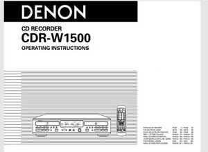 Denon CDR-W1500 Audio CD Player Recorder Operating Instruction - USER MANUAL