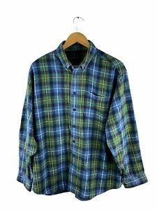 VINTAGE LL Bean Flannel Button Up Shirt Mens Size M Green Blue Check Long Sleeve