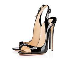 Womens High Heels Shoes Patent Leather Peep Toe Stilettos Clubwear Sandals UK SZ