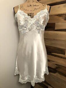 Victoria's Secret White Slip Dress Lingerie Nightgown  Lace Size M