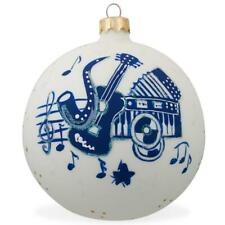 Saxophone, Guitar, Piano Music Instruments Glass Christmas Ornament 3.25 Inches