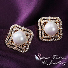 18K Yellow Gold Plated Full Diamond Studded Simulated Pearl Flower Stud Earrings