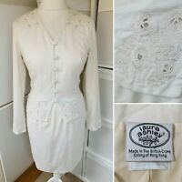 Laura Ashley White Jacket Skirt Suit Sz 12 Vintage 90s Embroidered Linen Cotton